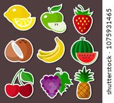 colourful stickers fruit set on ... | Shutterstock .eps vector #1075931465