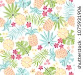 seamless tropical pattern with... | Shutterstock .eps vector #1075931906