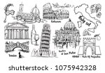 italy landmark vector sketch... | Shutterstock .eps vector #1075942328