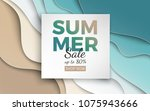 Summer sale banner with paper cut frame on blue sea and beach summer background with curve paper waves and seacoast for banner, flyer, poster or web site design. Paper cut style, vector illustration   Shutterstock vector #1075943666