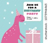 invitation card with funny pink ...   Shutterstock .eps vector #1075946465