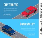 city traffic flyers with cars... | Shutterstock .eps vector #1075955576
