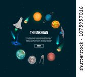 the unknown universe banner.... | Shutterstock .eps vector #1075957016