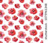 set watercolor elements pink... | Shutterstock . vector #1075961348
