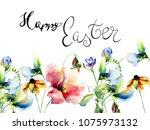 flowers watercolour... | Shutterstock . vector #1075973132