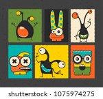 set of six retro postage s... | Shutterstock .eps vector #1075974275