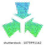 halftone dot shrink arrows icon.... | Shutterstock . vector #1075991162