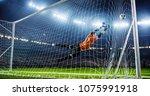 soccer game moment  on... | Shutterstock . vector #1075991918