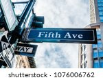 5th avenue  ave  sign  new york ... | Shutterstock . vector #1076006762