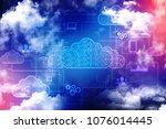 2d rendering cloud computing ... | Shutterstock . vector #1076014445