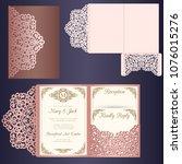 laser cut wedding invitation... | Shutterstock .eps vector #1076015276
