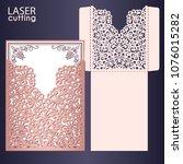laser cut wedding invitation... | Shutterstock .eps vector #1076015282