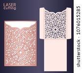 laser cut wedding invitation... | Shutterstock .eps vector #1076015285