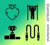 vector icon set about fitness... | Shutterstock .eps vector #1076016926