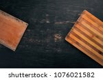 kitchen cutting board. top view.... | Shutterstock . vector #1076021582