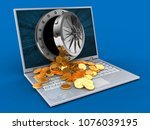 3d illustration of laptop over... | Shutterstock . vector #1076039195