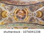 Small photo of PARMA, ITALY - APRIL 16, 2018: The ceiling freso of the Glorification of St. Joseph in church Chiesa di Santa Croce by Giovanni Maria Conti della Camera (1614 - 1670).