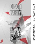 geometric triangle disco party... | Shutterstock .eps vector #1076044175