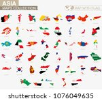 map with flag asian countries...   Shutterstock .eps vector #1076049635