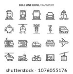 transport  bold line icons. the ... | Shutterstock .eps vector #1076055176