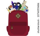 backpack full of school... | Shutterstock .eps vector #1076055686