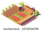 vector low poly tennis stadium... | Shutterstock .eps vector #1076056598