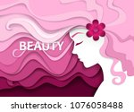 woman with beautiful wavy hair. ...   Shutterstock .eps vector #1076058488
