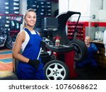 young female technician... | Shutterstock . vector #1076068622