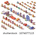vector low poly isometric... | Shutterstock .eps vector #1076077115