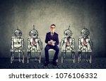 human vs robots concept.... | Shutterstock . vector #1076106332