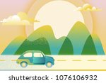 car driving along mountain road ... | Shutterstock .eps vector #1076106932