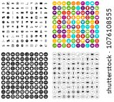 100 cycling icons set vector in ... | Shutterstock .eps vector #1076108555