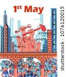 vector design of 1st may happy... | Shutterstock .eps vector #1076120015