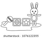 cute rabbit with blocks and... | Shutterstock .eps vector #1076122355