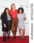 Small photo of New York, NY - April 21, 2018: Alia Hassan, Gabriela Pichler, Zaharash Alboujai attend premiere of Amateurs at Tribeca Film Festival at Cinepolis