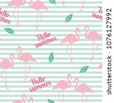 flamingo seamless pattern on... | Shutterstock .eps vector #1076127992