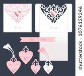 wedding set. white cutout... | Shutterstock .eps vector #1076129246