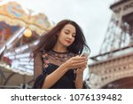 happy travel woman using... | Shutterstock . vector #1076139482