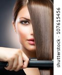 Постер, плакат: Hairdressing Hair Straightening Irons Beautiful
