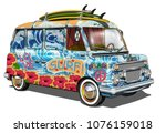 retro surf bus. | Shutterstock .eps vector #1076159018