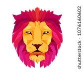 lion head. low poly design.... | Shutterstock .eps vector #1076160602
