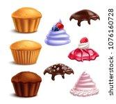 set of isolated cookies... | Shutterstock .eps vector #1076160728