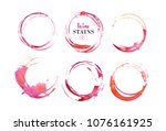 vector set of isolated red wine ... | Shutterstock . vector #1076161925