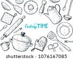 kitchen utensils hand drawn... | Shutterstock .eps vector #1076167085