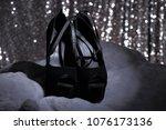 black high heel woman shoes on... | Shutterstock . vector #1076173136