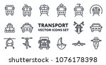 public transport signs. flat... | Shutterstock .eps vector #1076178398