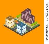 isometric city building... | Shutterstock .eps vector #1076191736
