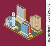 isometric city building... | Shutterstock .eps vector #1076191742