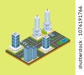 isometric city building... | Shutterstock .eps vector #1076191766