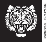 tiger angry face tattoo. vector ... | Shutterstock .eps vector #1076196482